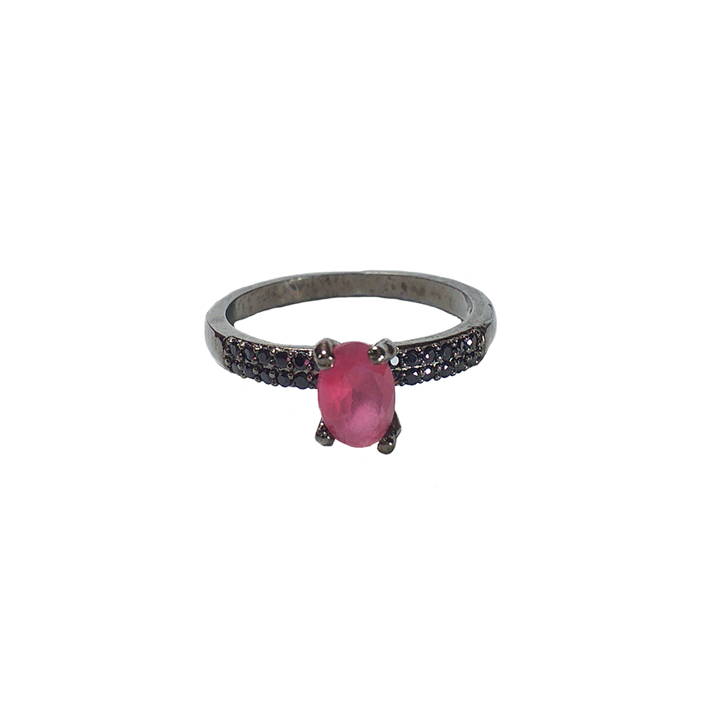 Anel Armazem RR Bijoux cristal pink grafite