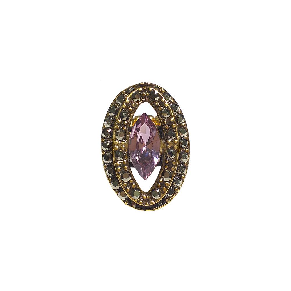 Anel Armazem RR Bijoux cristal Swarovski nevete roxo dourado