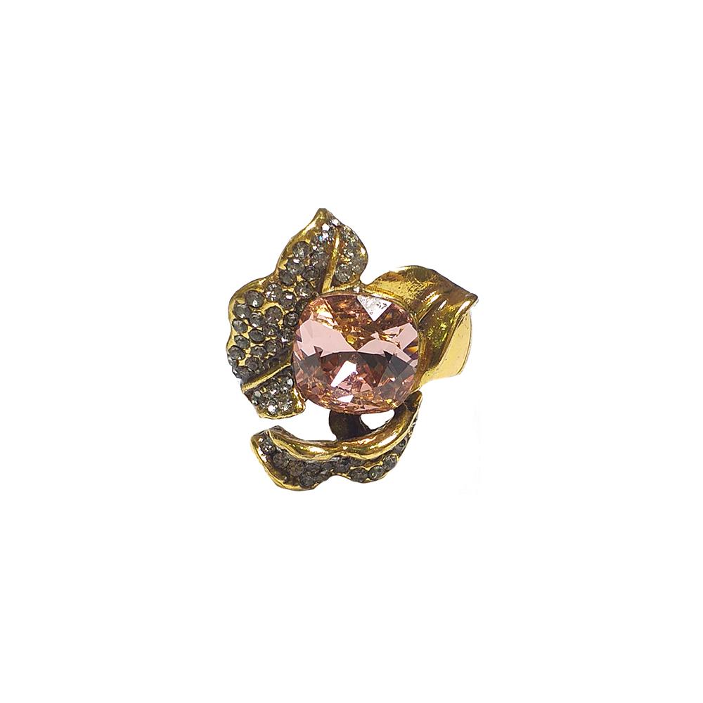 Anel Armazem RR Bijoux flor com cristal Swarovski rosa dourado