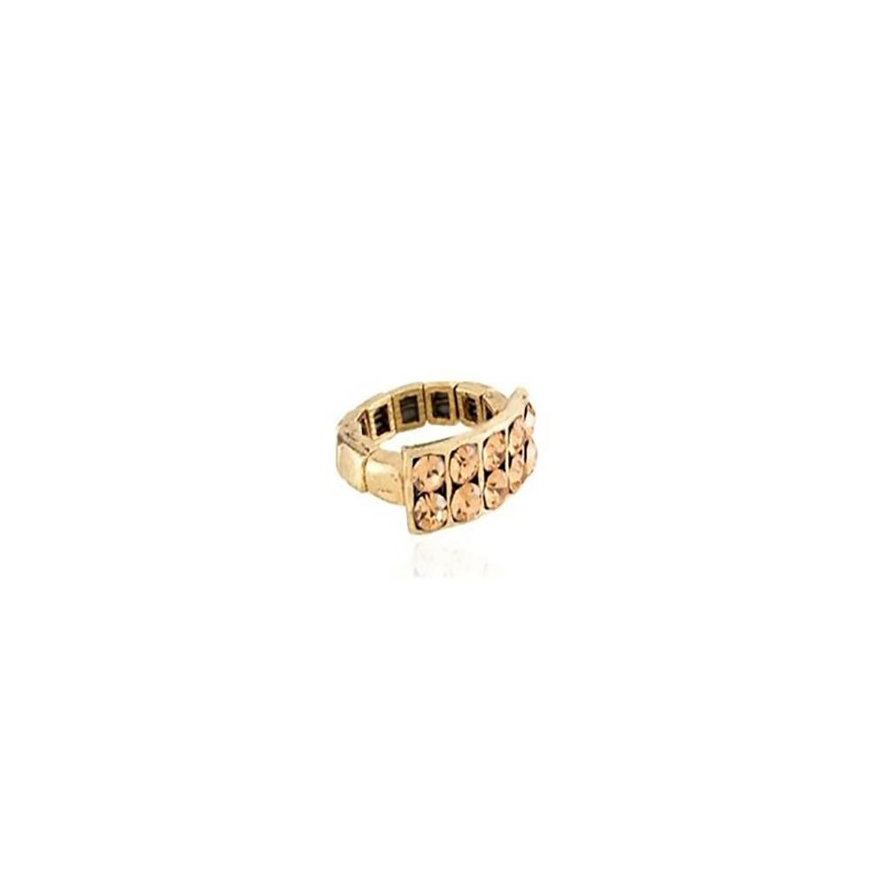 Anel Armazem RR Bijoux ouro velho quadrado cristais