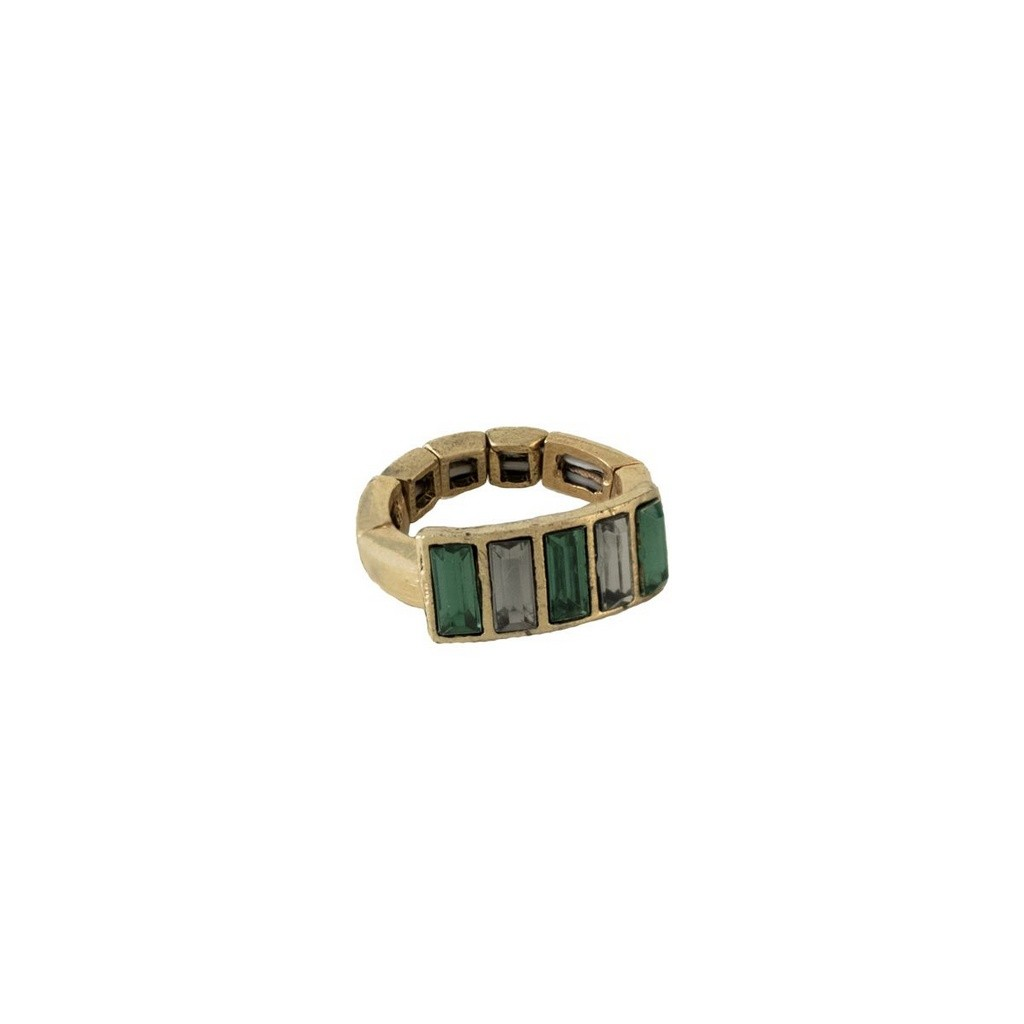 Anel Armazem RR Bijoux pedras verdes dourado