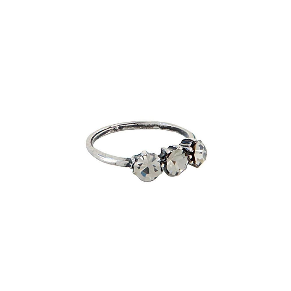 Anel Armazem RR Bijoux pequeno cristais prata