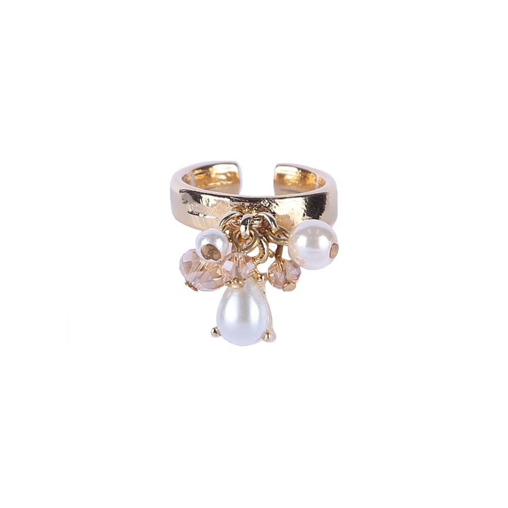 Anel Armazem RR Bijoux pingentes com pérolas e cristais dourado