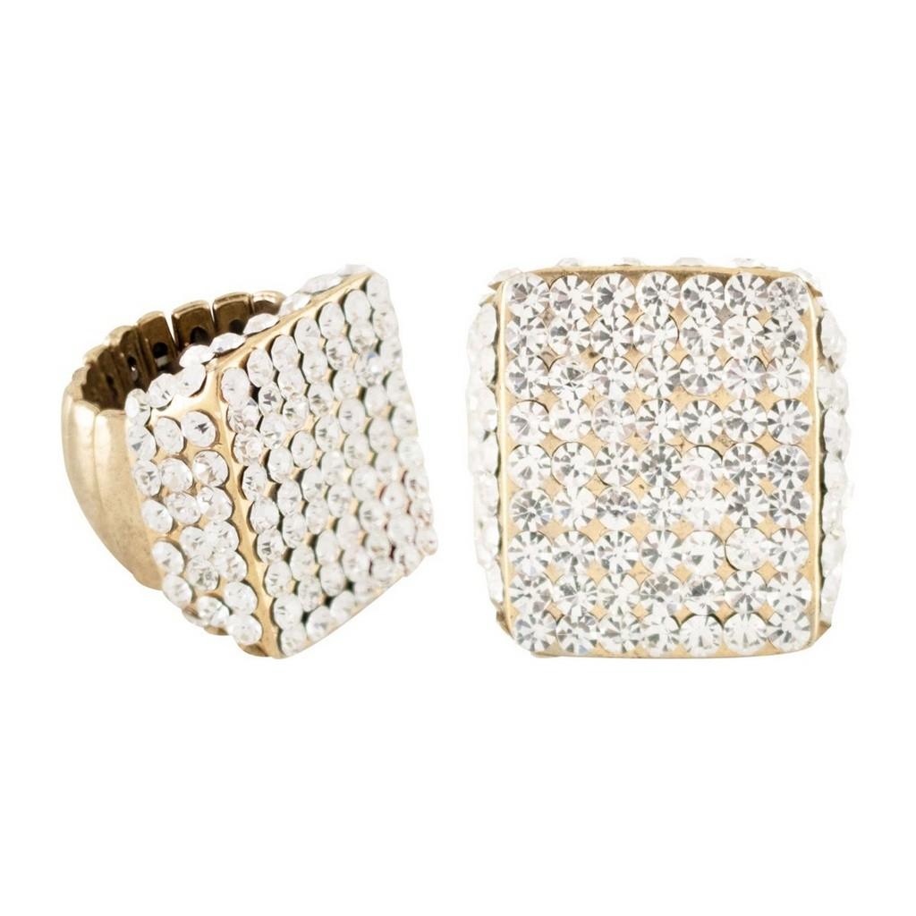Anel Armazem RR Bijoux regulável cristal transparente quadrado dourado