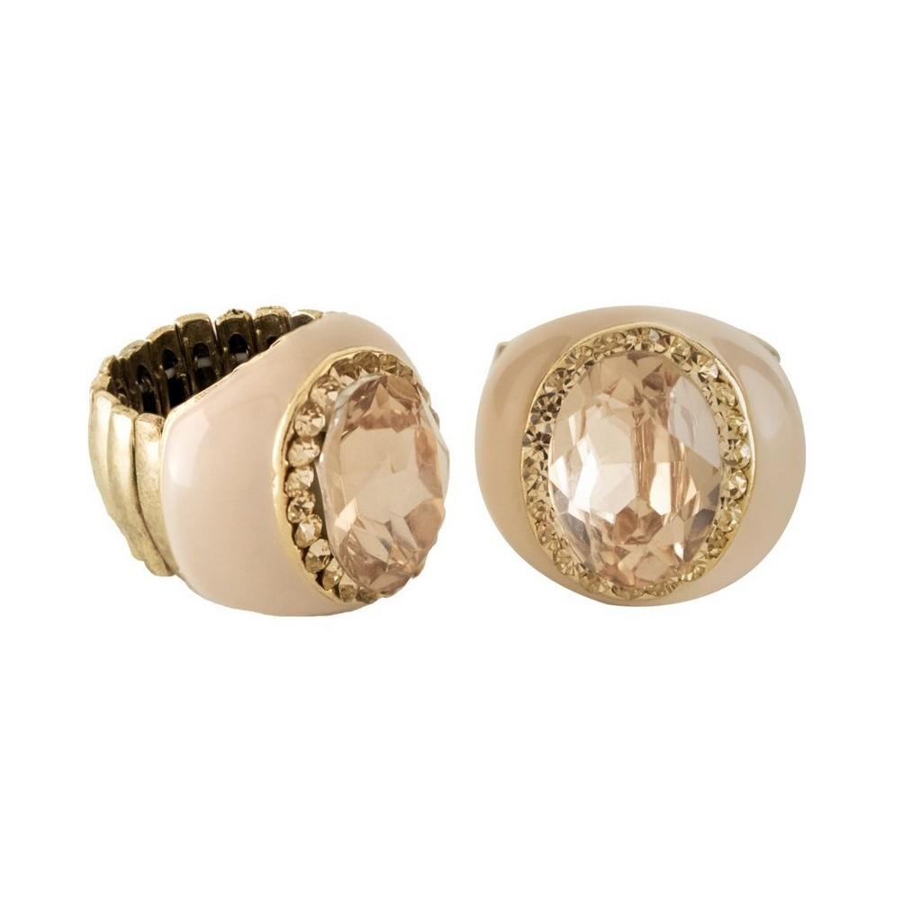 Anel Armazem RR Bijoux resina cristal rose dourado