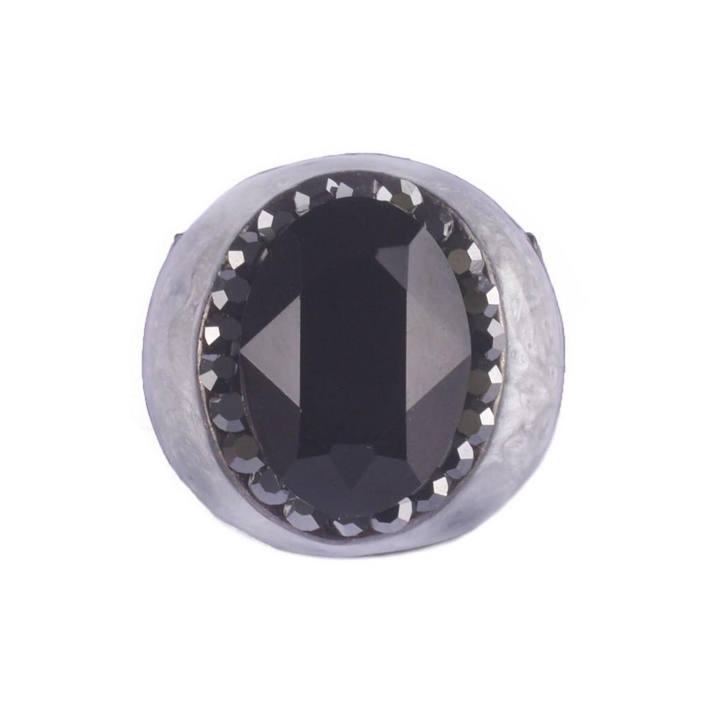 Anel Armazem RR Bijoux resina perolada cristal preto grafite