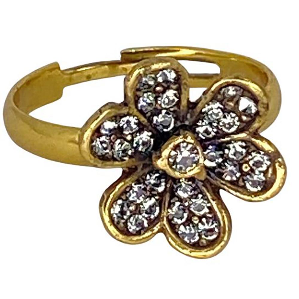 Anel  Dourado Armazem RR Bijoux flor cravejada - Swarovski