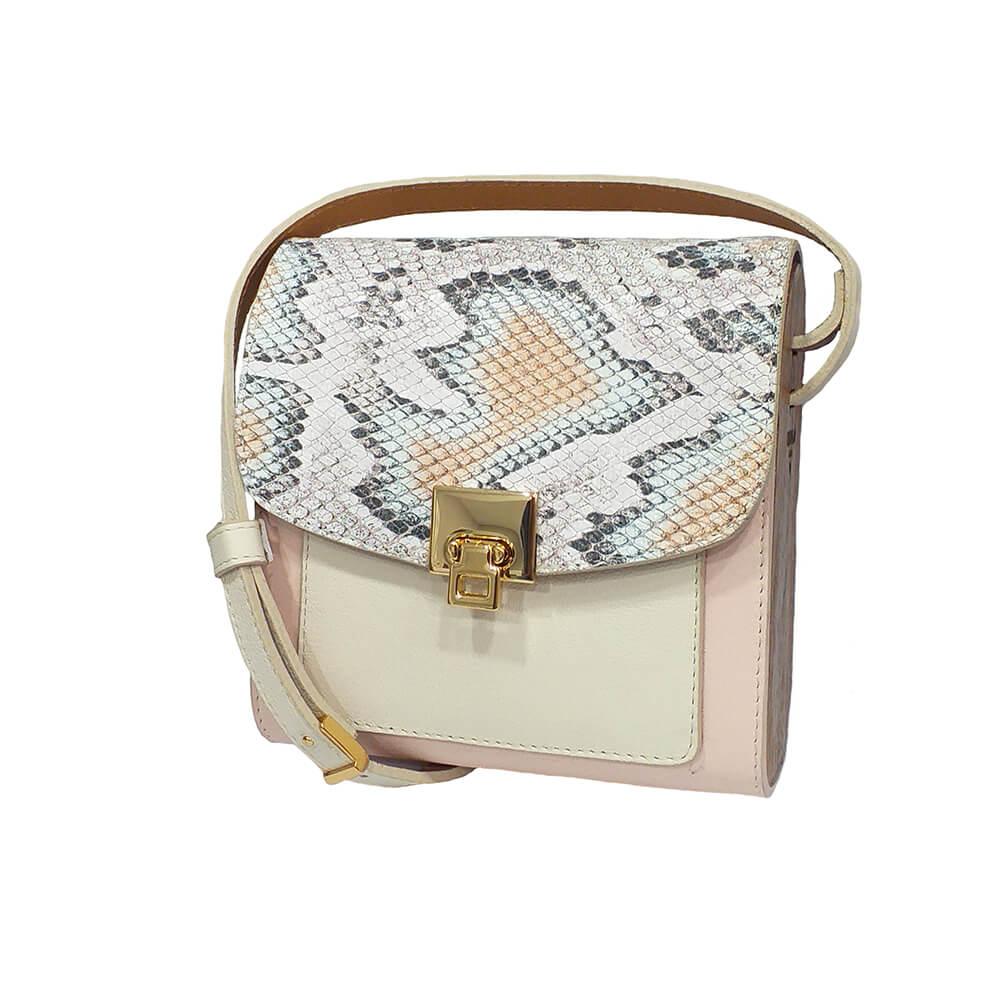 Bolsa couro Armazem RR Bijoux com lateral em madeira pequena rosa animal print