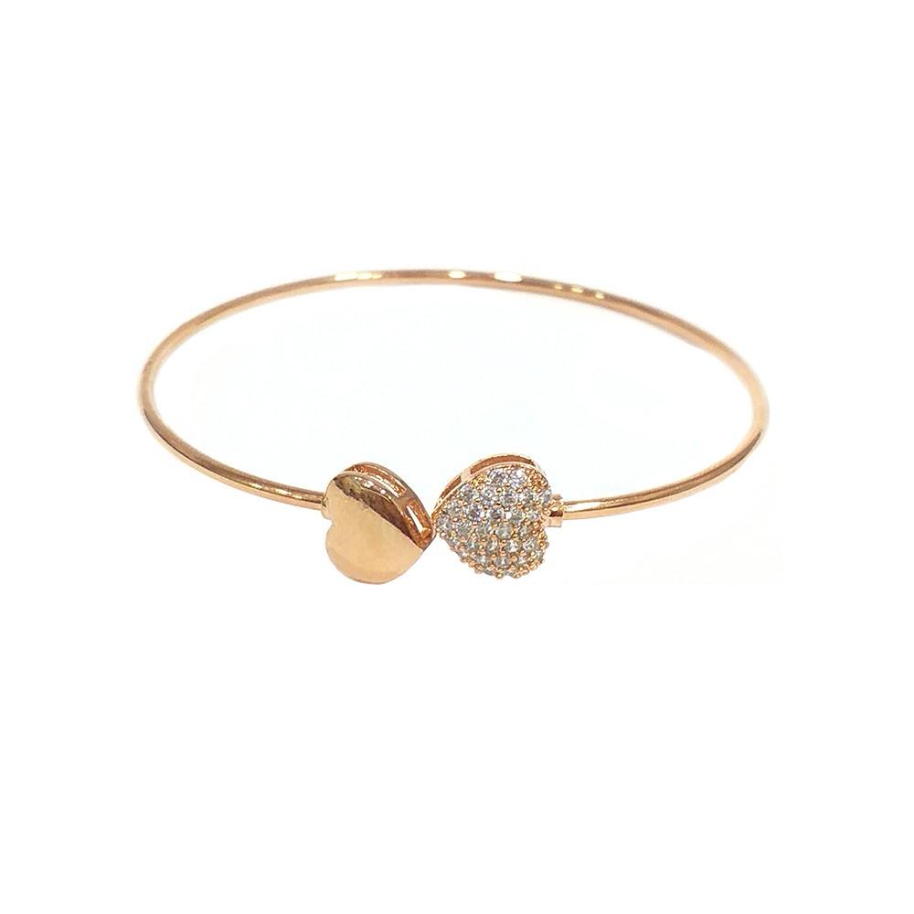 Bracelete Armazem RR Bijoux coração com cristais rose
