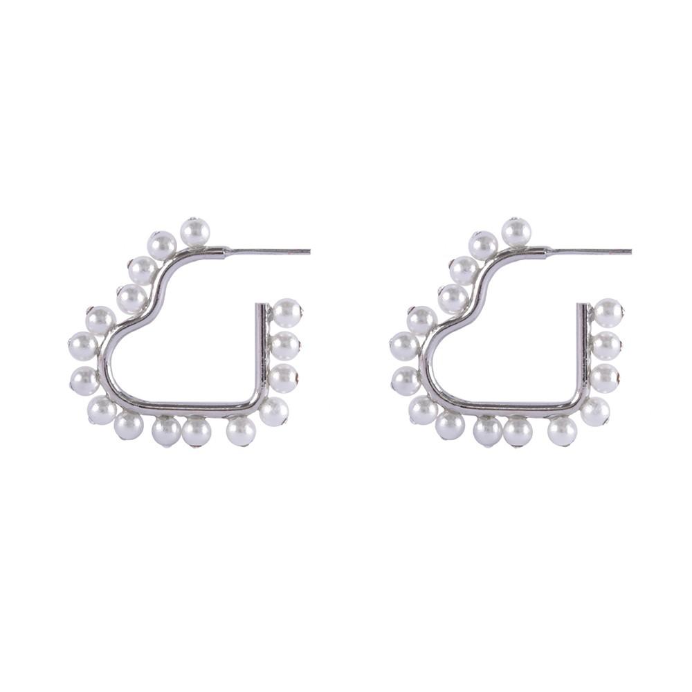 Brinco Armazem RR Bijoux argola coração com perolas e cristais prata