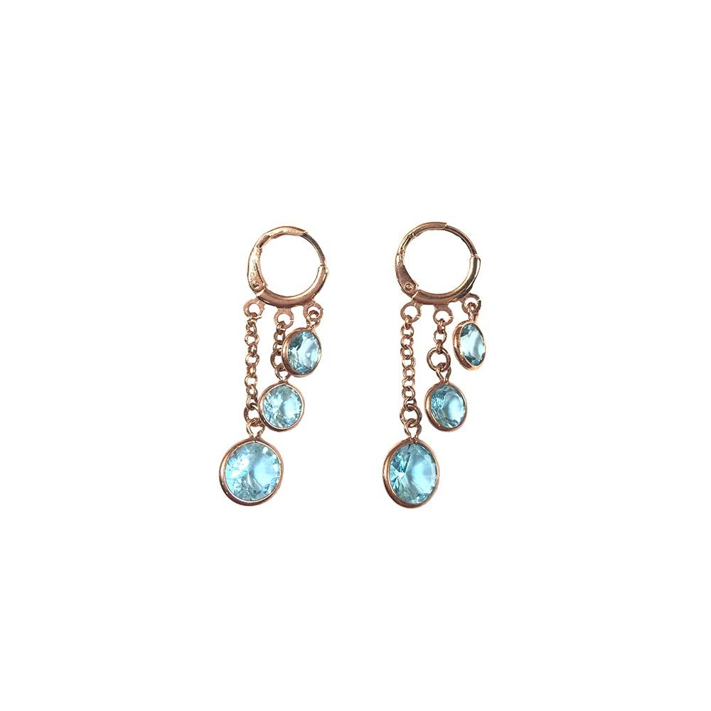 Brinco Armazem RR Bijoux argola cristais azuis rose