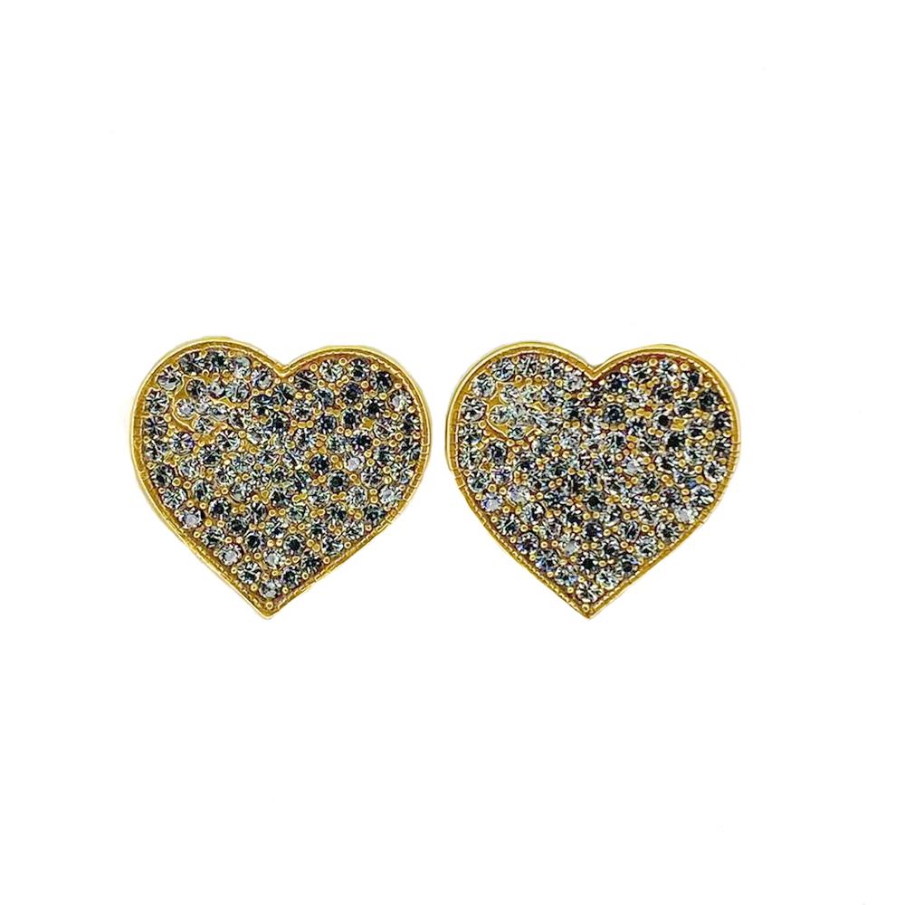 Brinco Armazem RR Bijoux coração cristais cravejados Swarovski dourado