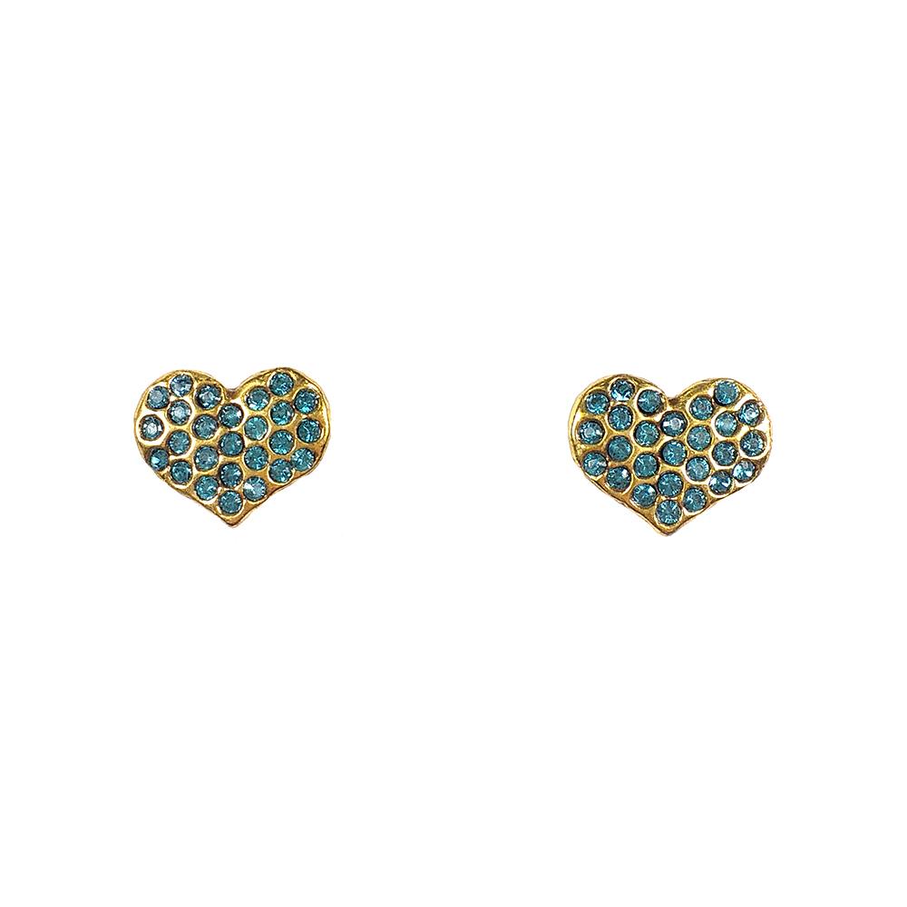 Brinco Armazem RR Bijoux coração cristais Swarovski azul dourado