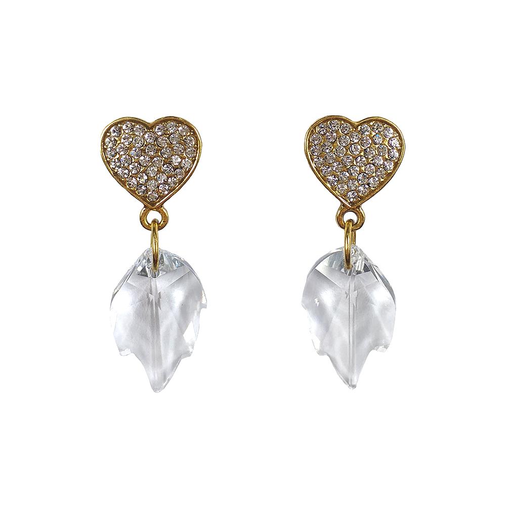 Brinco Armazem RR Bijoux coração cristais Swarovski dourado