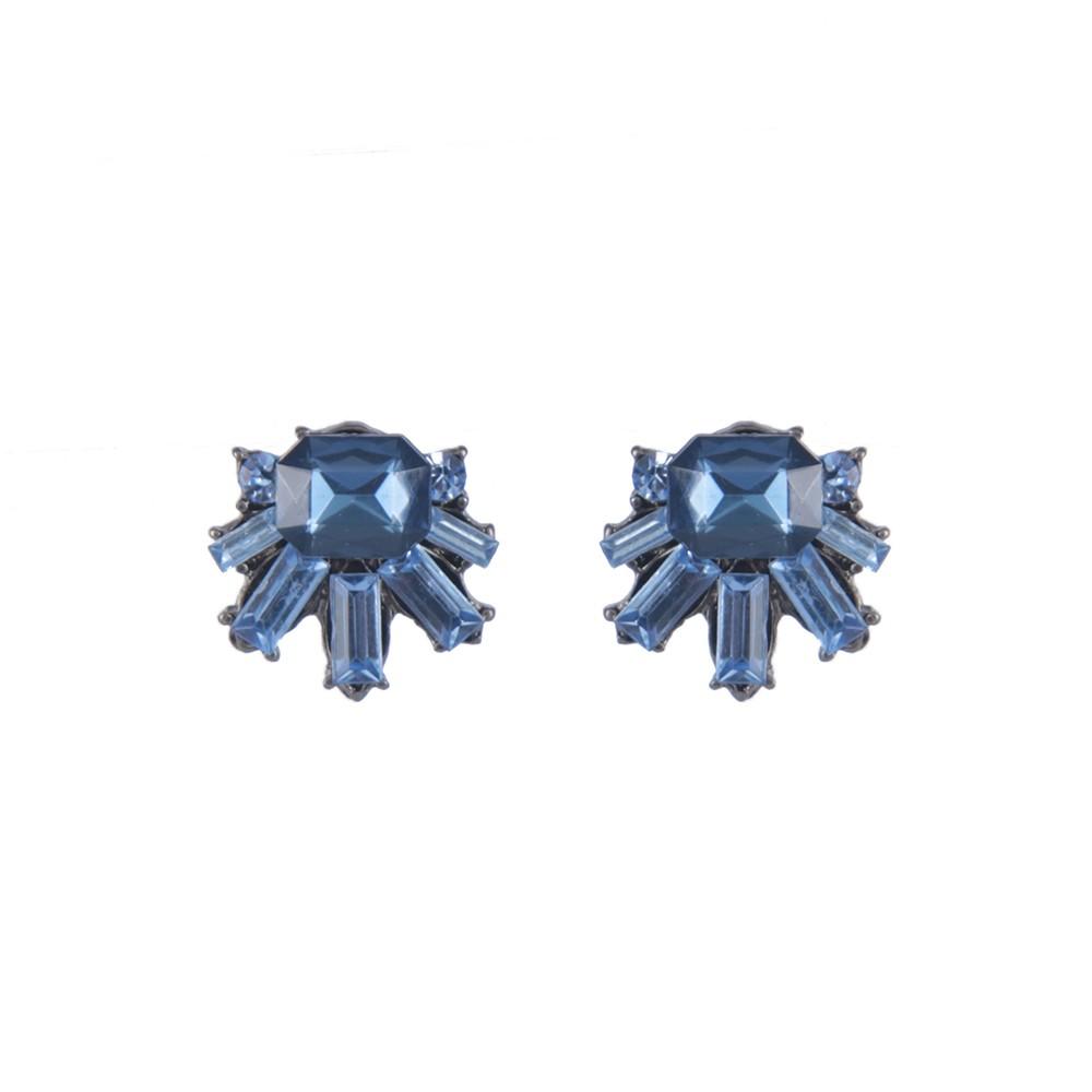 Brinco Armazem RR Bijoux cristais azul grafite