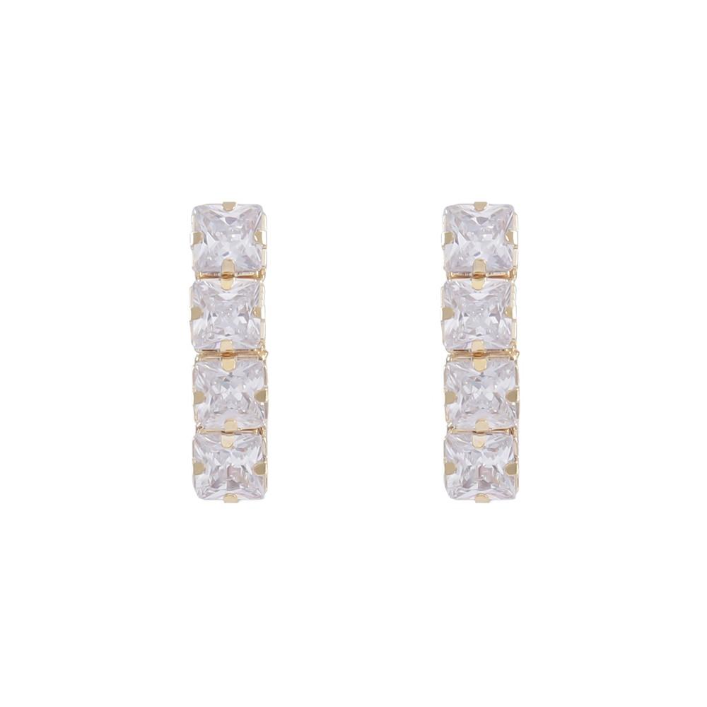 Brinco Armazem RR Bijoux Ear Hook cristais dourado