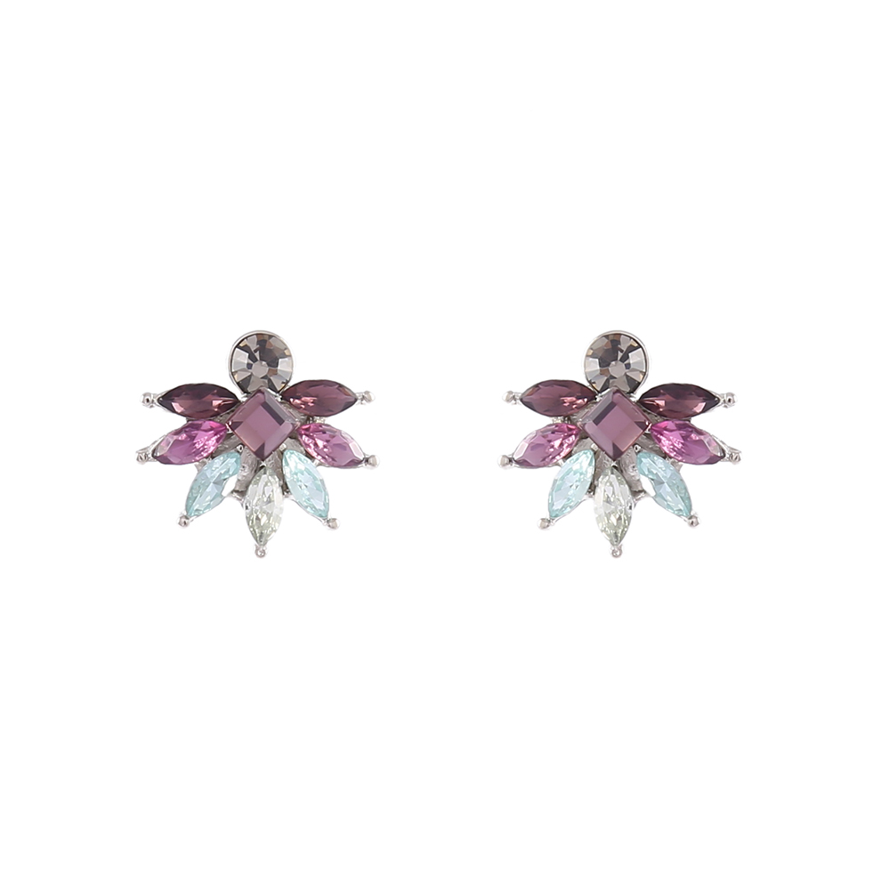 Brinco Armazem RR Bijoux cristais roxo prata