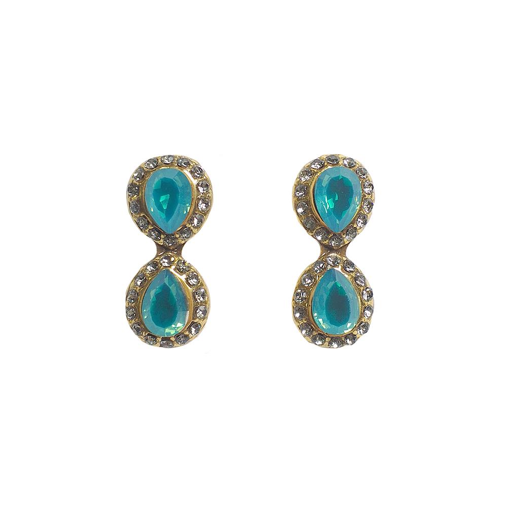 Brinco Armazem RR Bijoux cristais Swarovski gota azul dourado