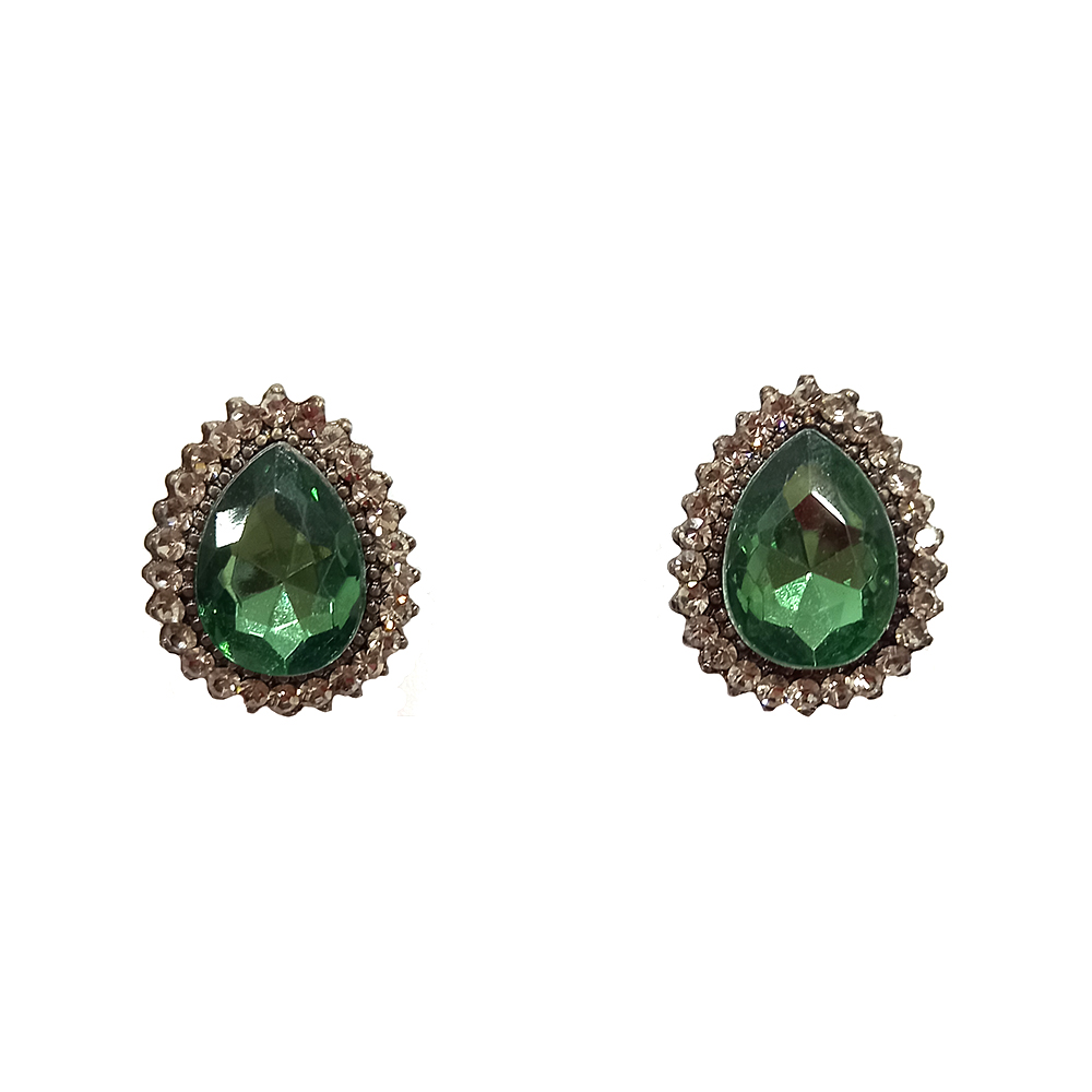 Brinco Armazem RR Bijoux cristal gota verde grafite