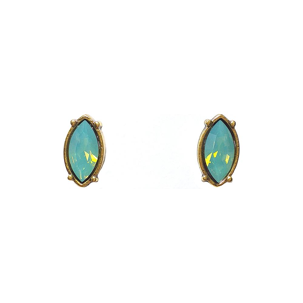 Brinco Armazem RR Bijoux cristal nevete verde água dourado