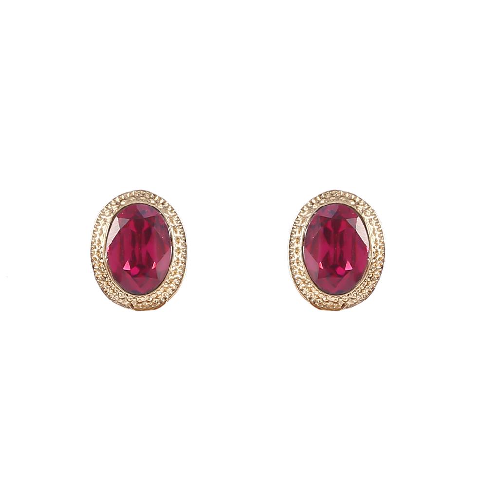 Brinco Armazem RR Bijoux cristal redondo pink dourado