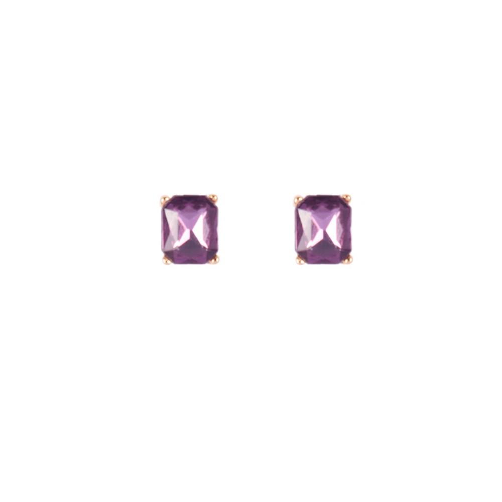 Brinco Armazem RR Bijoux cristal Swarovski roxo dourado