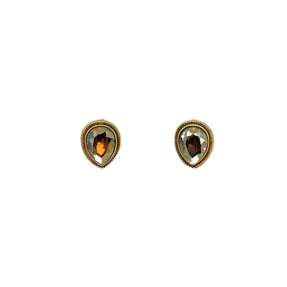 Brinco Armazem RR Bijoux cristal Swarovski gota dourado