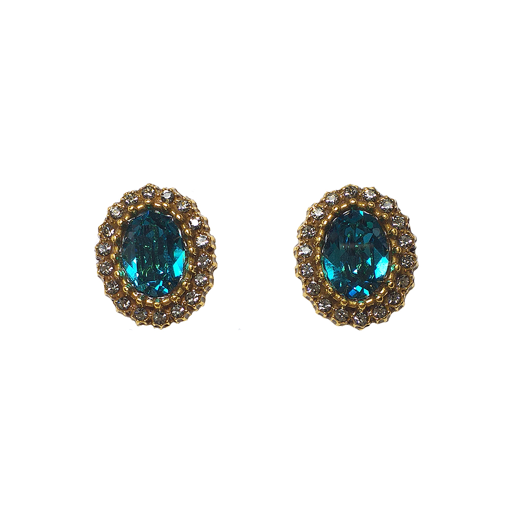 Brinco Armazem RR Bijoux cristal Swarovski redondo azul dourado
