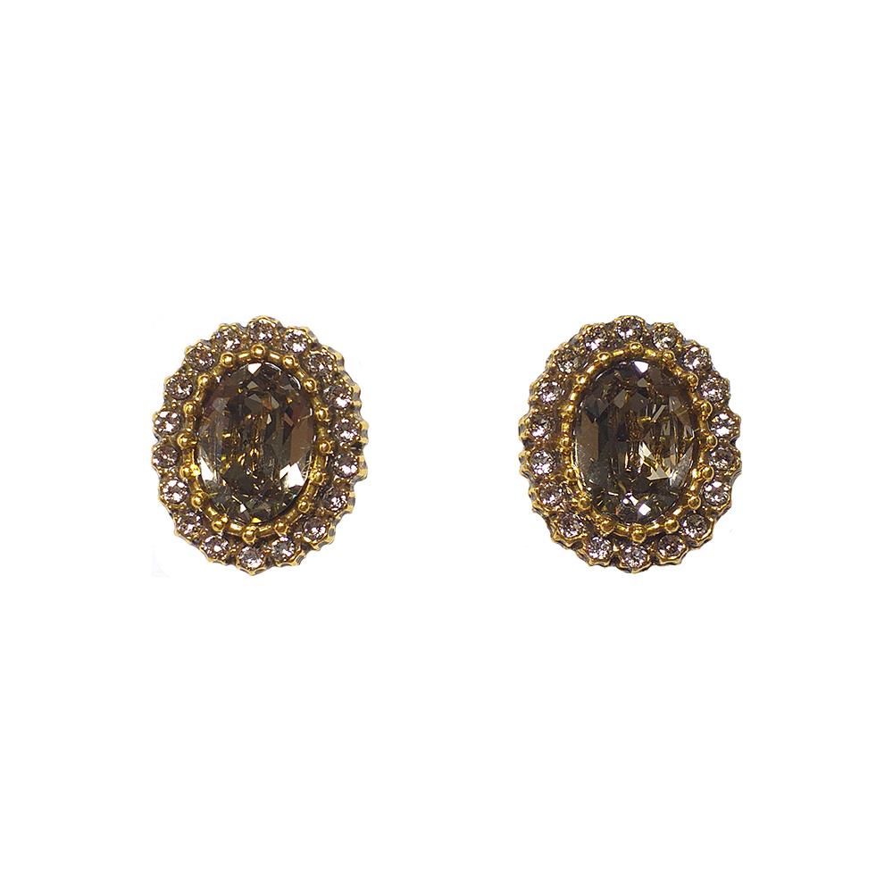 Brinco Armazem RR Bijoux cristal Swarovski redondo dourado