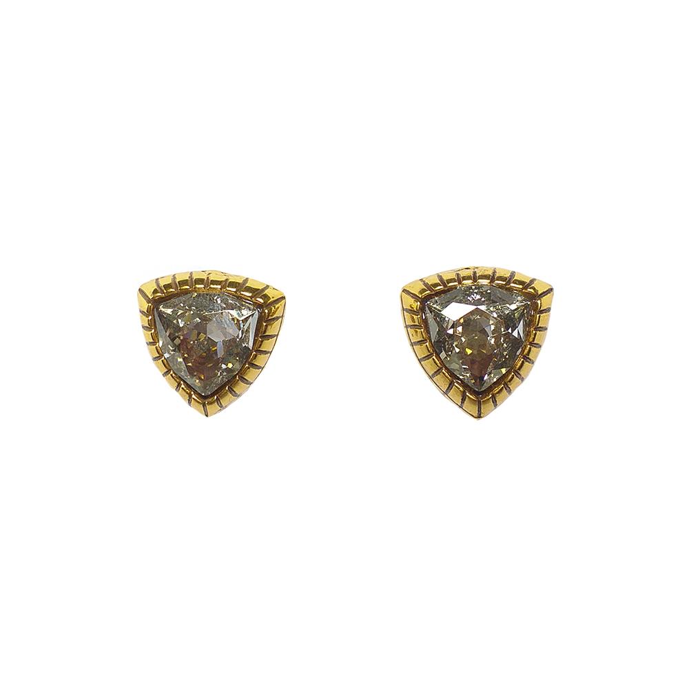 Brinco Armazem RR Bijoux cristal Swarovski triângulo dourado