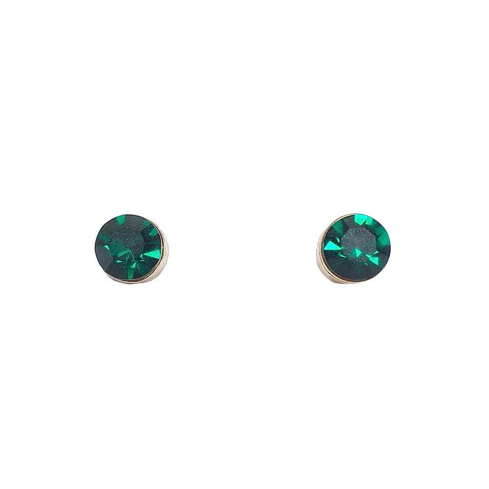 Brinco Armazem RR Bijoux cristal verde dourado