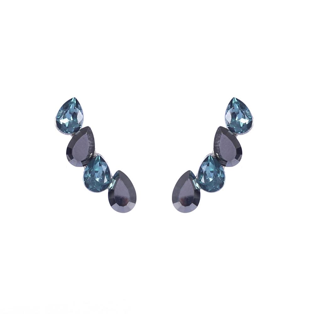Brinco Armazem RR Bijoux Ear Cuff cristais azul grafite