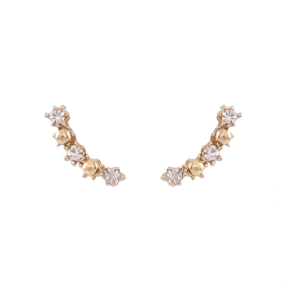 Brinco Armazem RR Bijoux Ear Cuff cristais dourado