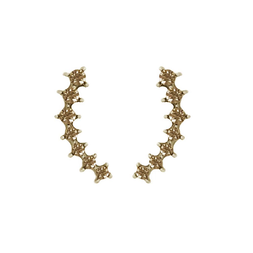 Brinco Armazem RR Bijoux Ear Cuff cristais ouro velho