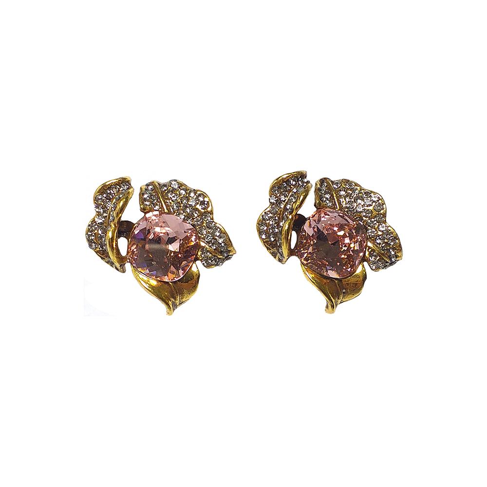 Brinco Armazem RR Bijoux flor com cristal Swarovski rosa dourado