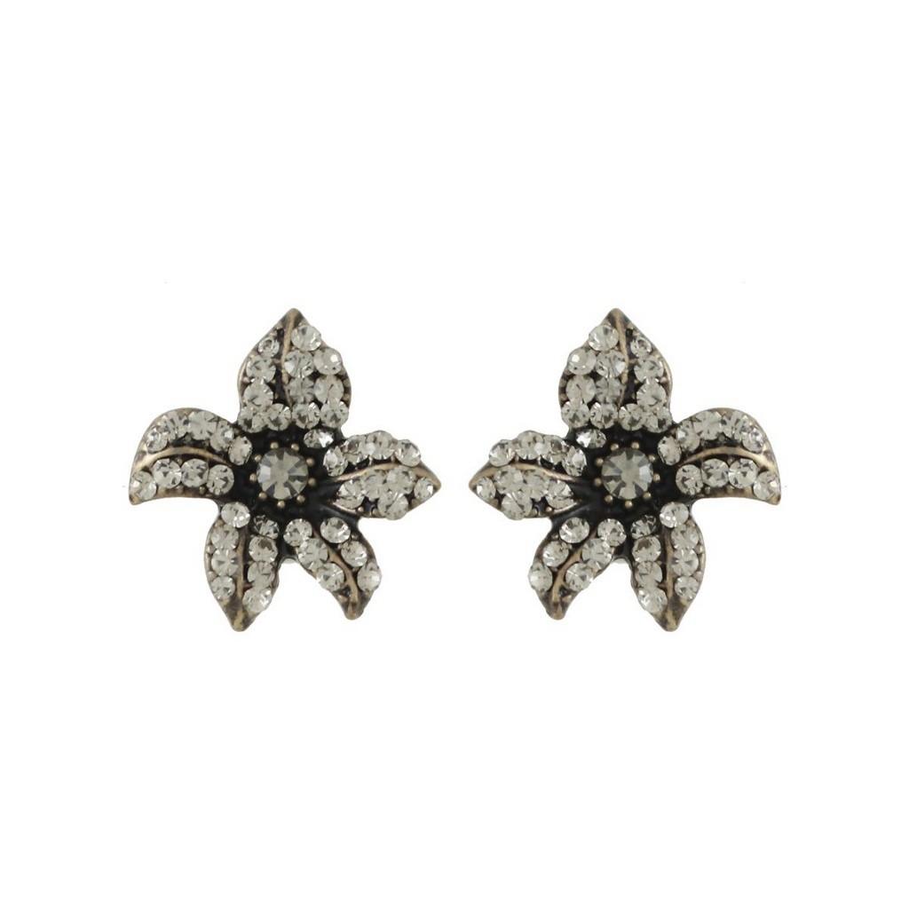 Brinco Armazem RR Bijoux flor cristal black diamond ouro velho