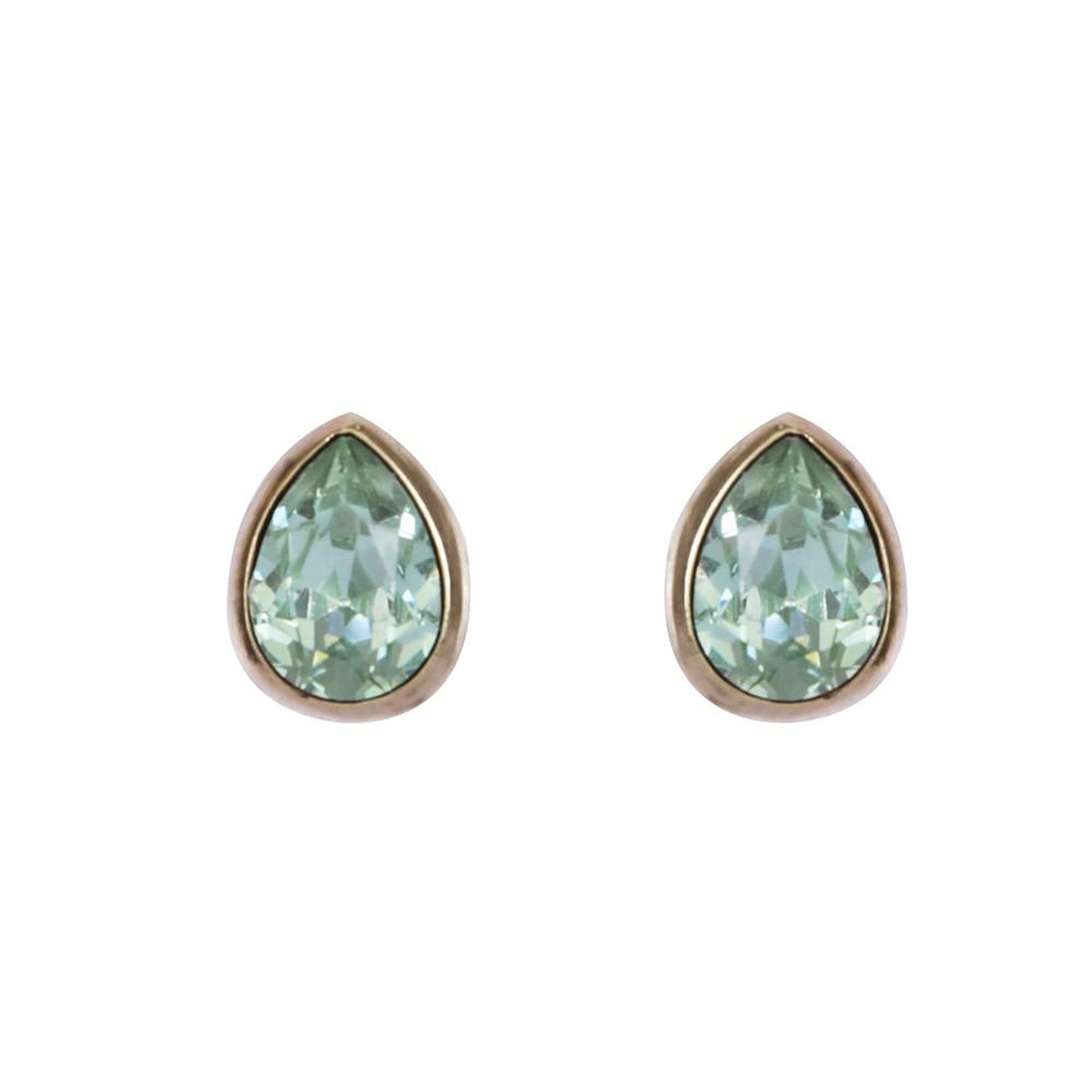 Brinco Armazem RR Bijoux gota cristal verde dourado
