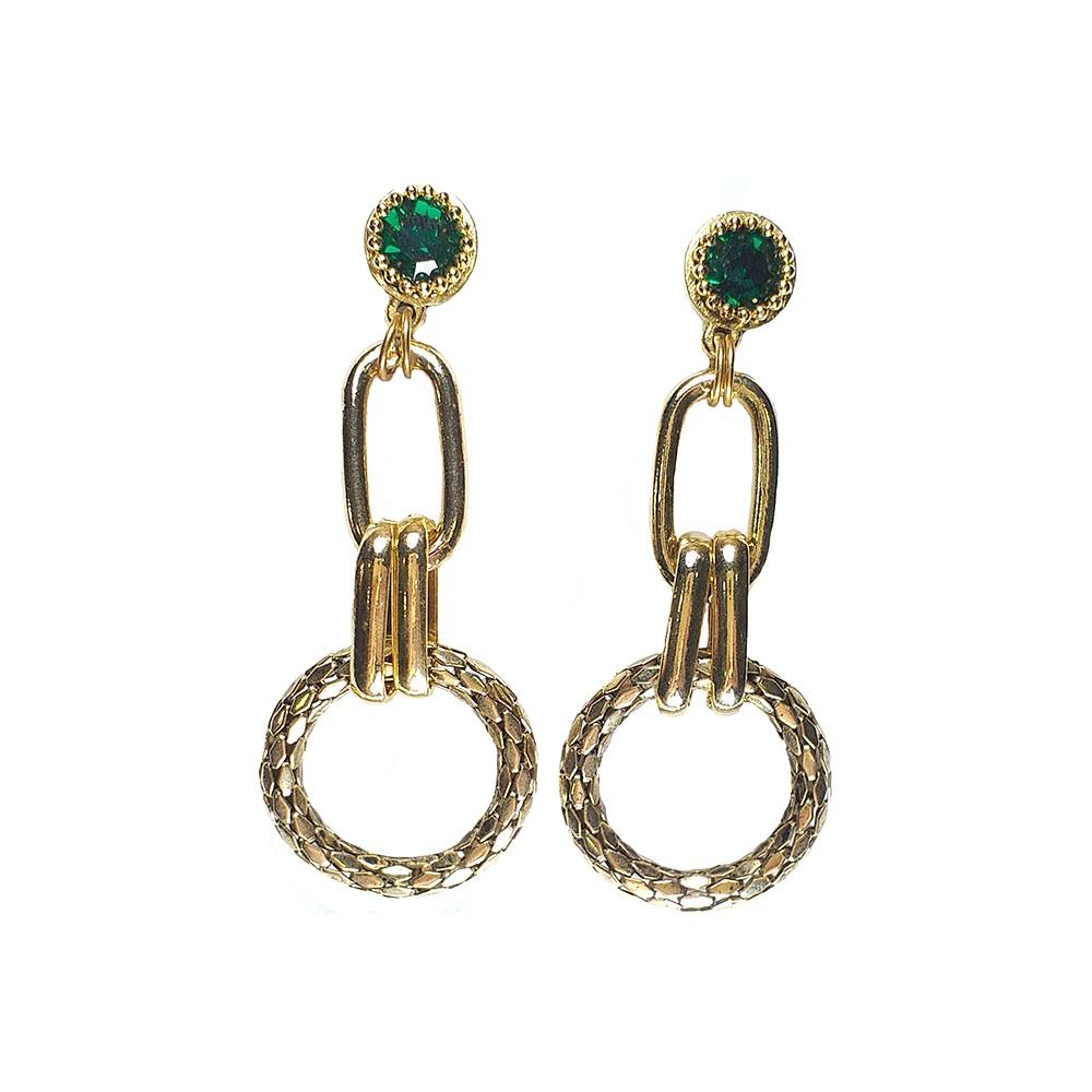 Brinco Armazem RR Bijoux maxi argola com cristal verde dourado