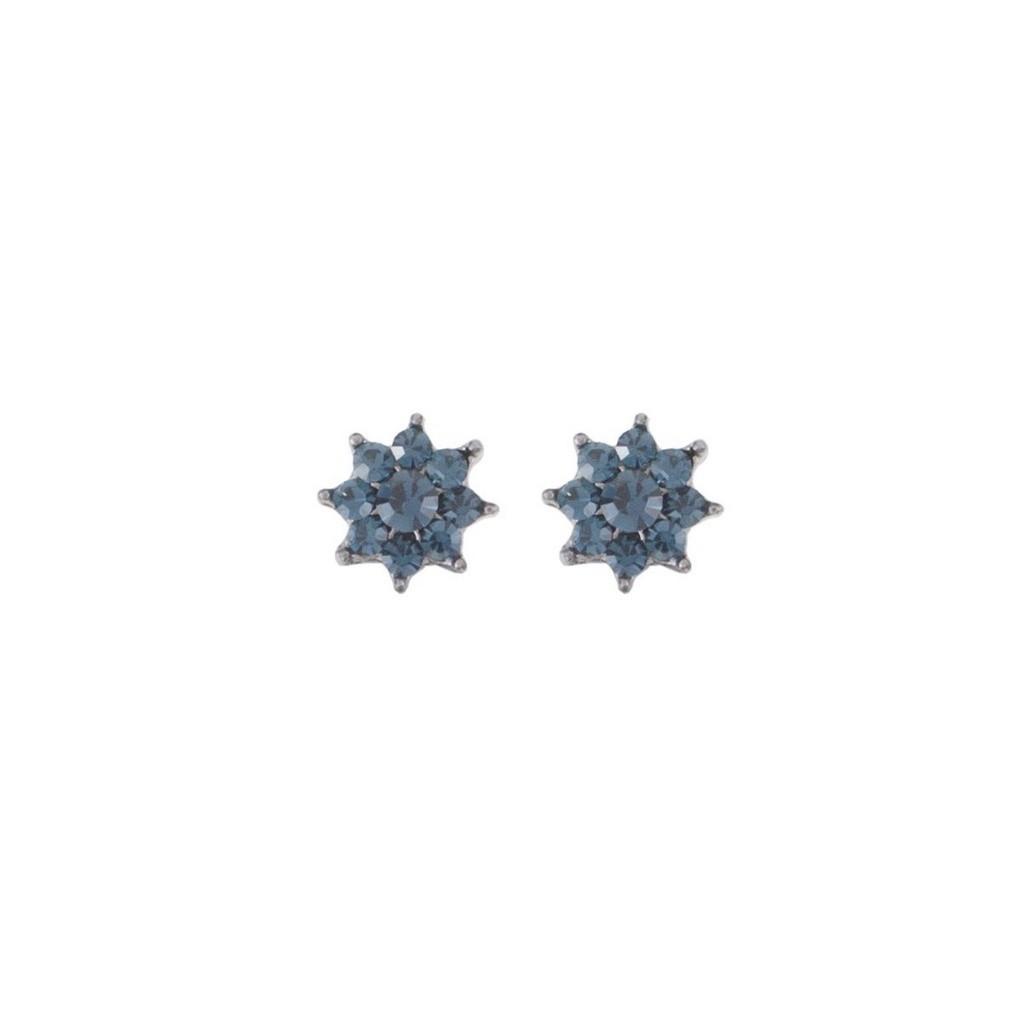 Brinco Armazem RR Bijoux mini flor azul grafite