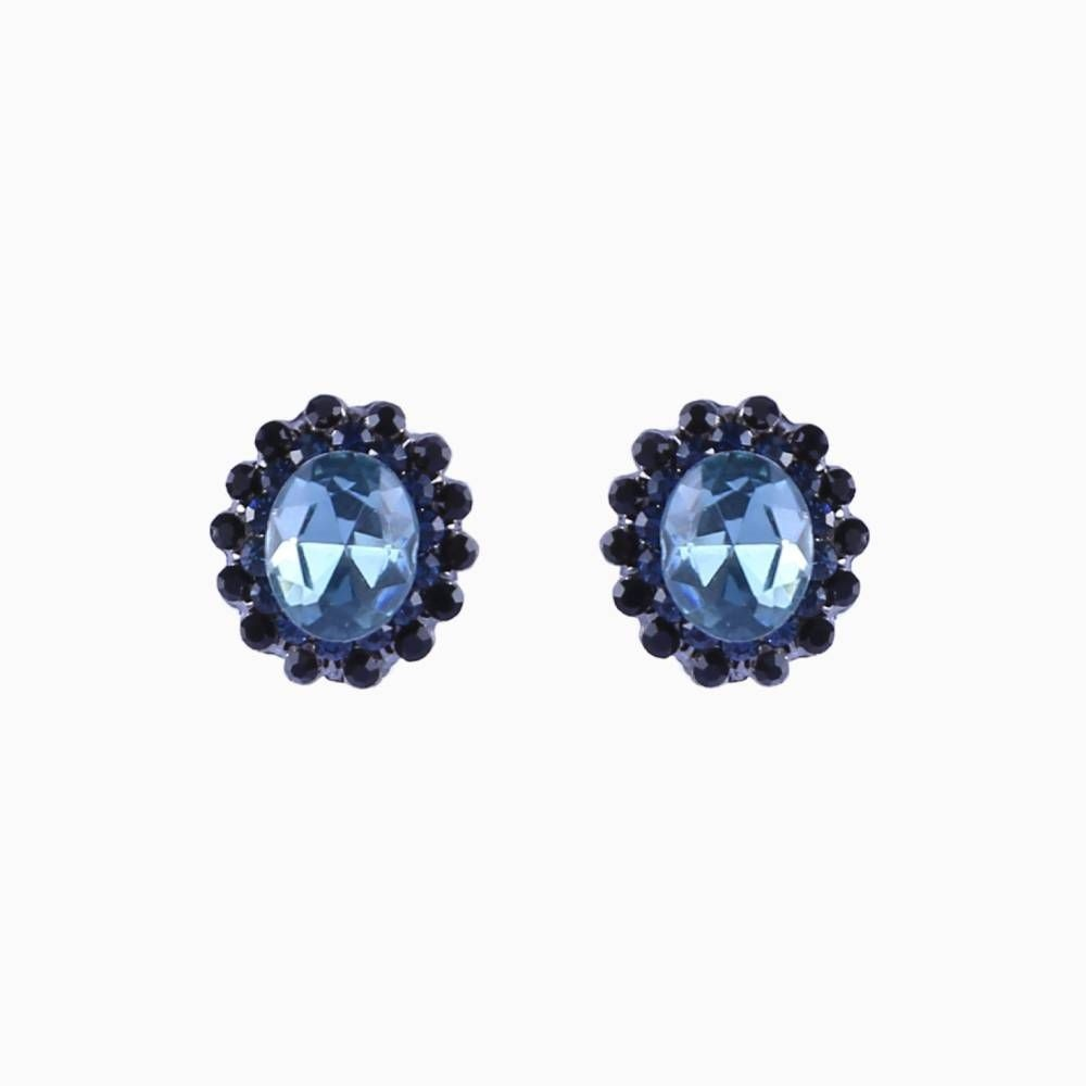 Brinco Armazem RR Bijoux pequeno cristal oval azul