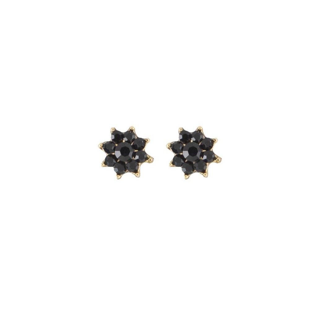 Brinco Armazem RR Bijoux pequeno flor preto