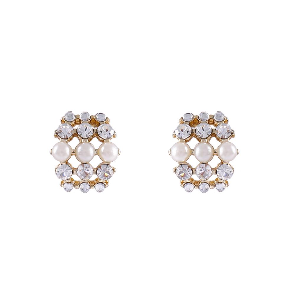 Brinco Armazem RR Bijoux pérolas e cristais dourado