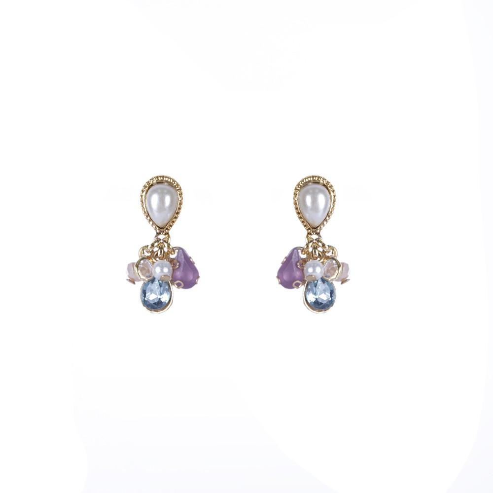 Brinco Armazem RR Bijoux pingentes com cristais coloridos dourado