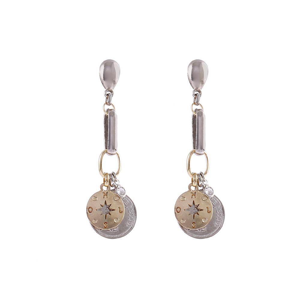 Brinco Armazem RR Bijoux pingentes prata e dourado