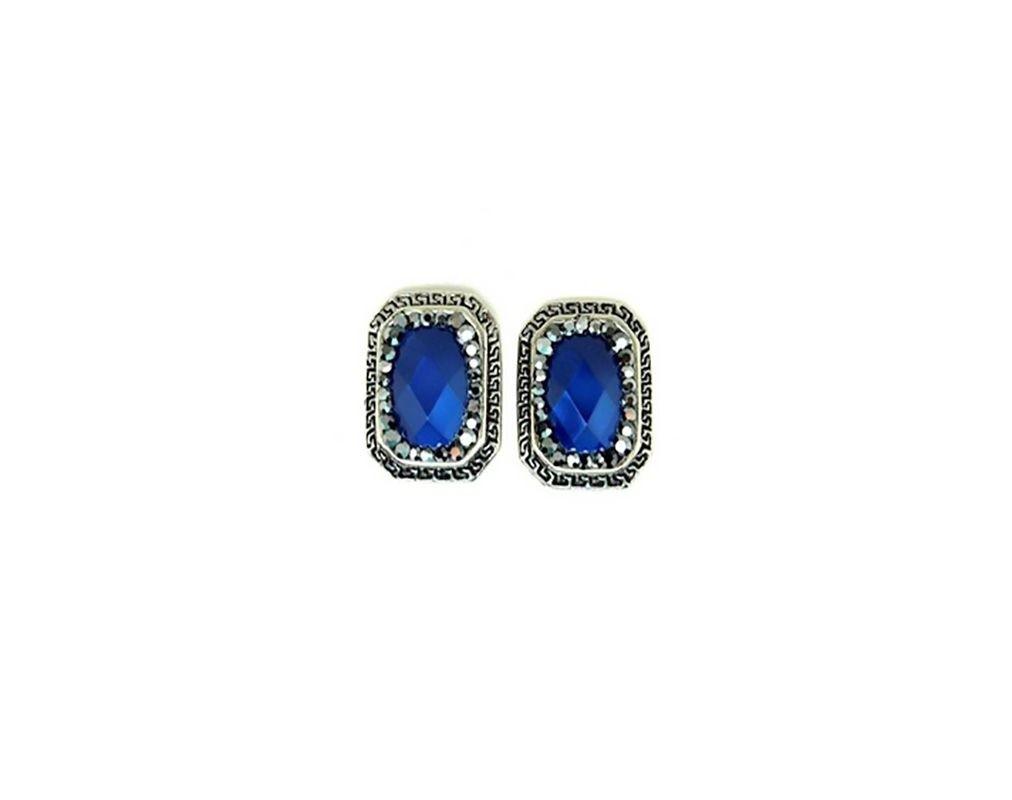Brinco Armazem RR Bijoux quadrado pedra azul