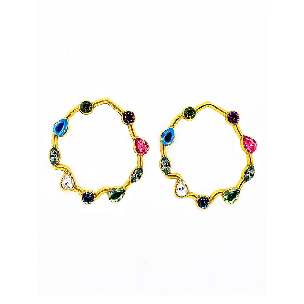 Brinco Armazem RR Bijoux redondo cristais Swarovski coloridos dourado