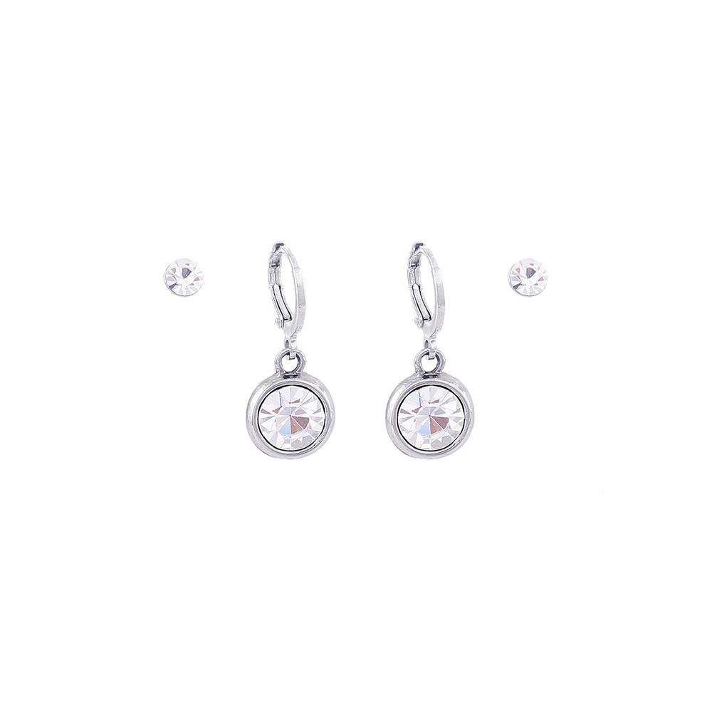 Brinco duplo Armazem RR Bijoux argola cristais prata