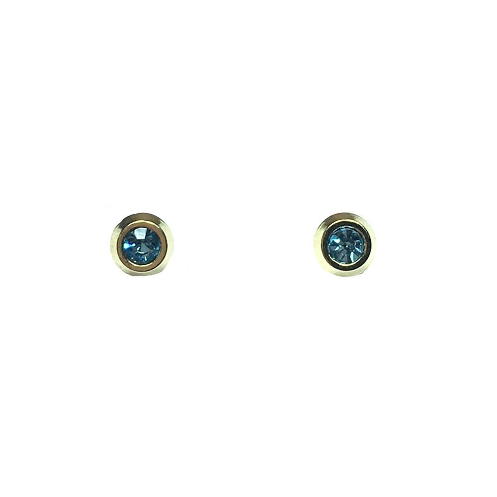 Brinco Infantil Armazem RR Bijoux cristal azul dourado