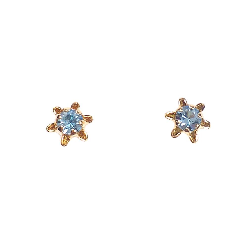 Brinco Infantil Armazem RR Bijoux flor com cristal azul dourado