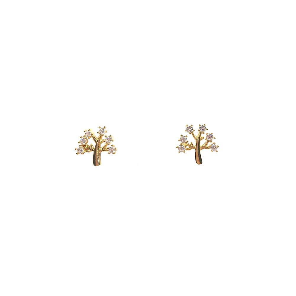 Brinco pequeno Armazem RR Bijoux árvore com cristais dourado